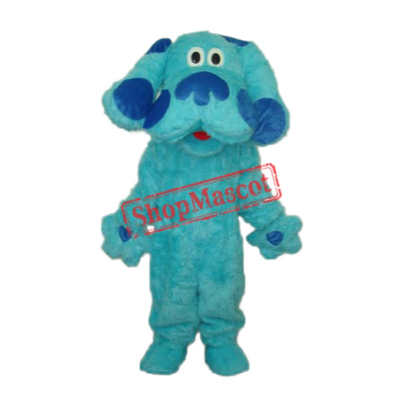 Long Hair Blue Dog Mascot Adult Costume Free Shipping