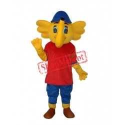 Yellow Red Big Elephant Mascot Adult Costume Free Shipping