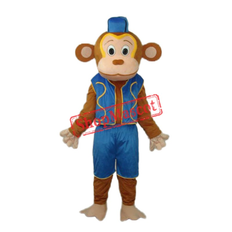 Clown Monkey in Blue Vest Mascot Adult Costume Free Shipping