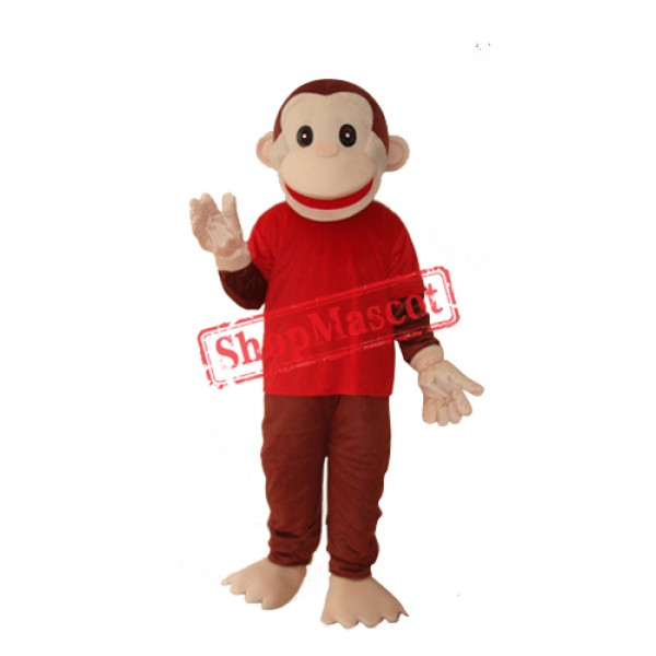 Happy Monkey in Red Shirts Mascot Adult Costume Free Shipping