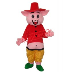 Red Hat Pig Mascot Adult Costume Free Shipping