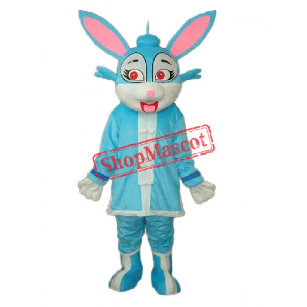Blue Rabbit in Padded Coat Mascot Adult Costume Free Shipping