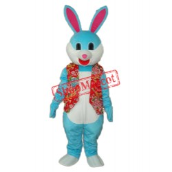 Blue Rabbit in Red Vest Mascot Adult Costume Free Shipping