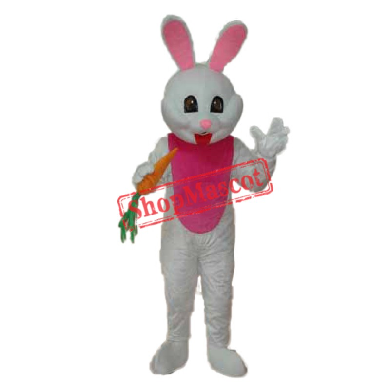 Easter Bunny with Carrot Mascot Adult Costume Free Shipping