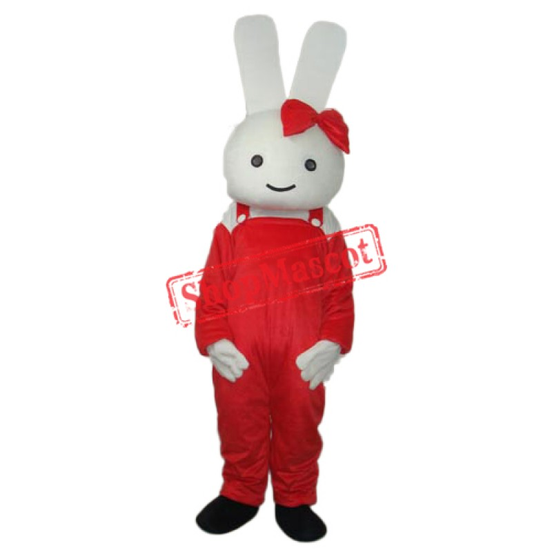Red Overall Rabbit Mascot Adult Costume Free Shipping