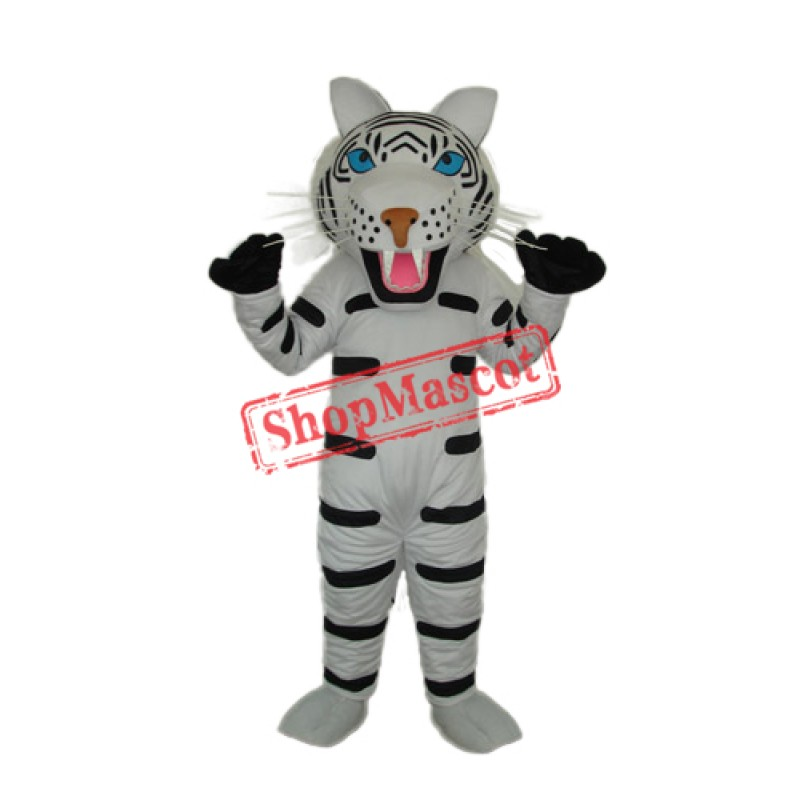 Black and White Tiger Mascot Adult Costume Free Shipping