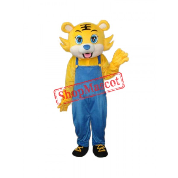 Yellow Tiger in Blue Overall Mascot Adult Costume Free Shipping