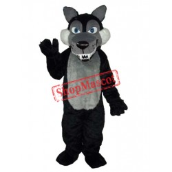 Long Wool Big Black Wolf Mascot Adult Costume Free Shipping