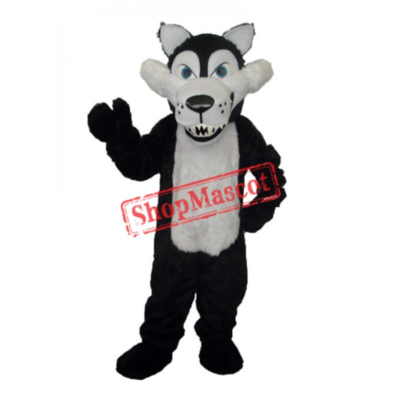 Long Wool Big Black Wolf with White Belly Mascot Adult Costume Free Shipping