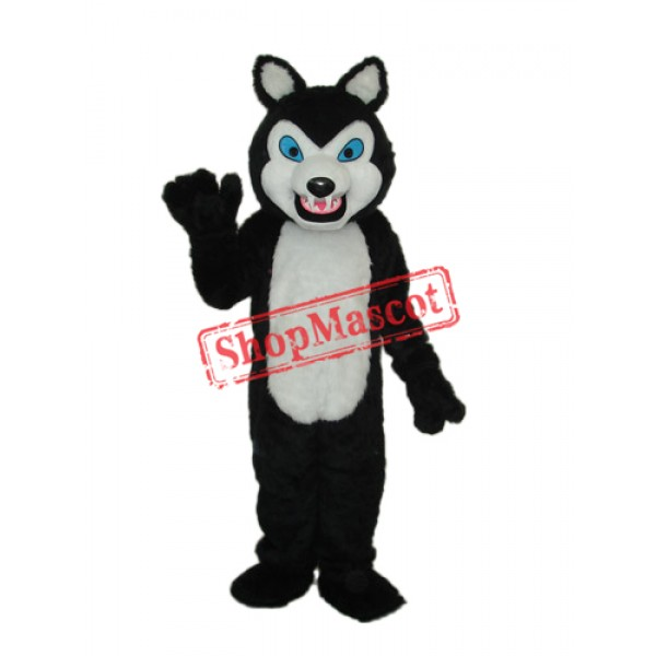 Long-haired Black Wolf Mascot Adult Costume Free Shipping