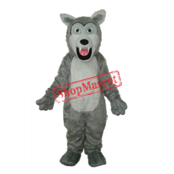 Small Long-haired Gray Wolf Mascot Adult Costume Free Shipping