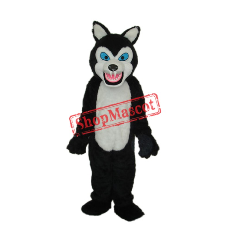 Thin Teeth Long-haired Black Wolf Mascot Adult Costume Free Shipping