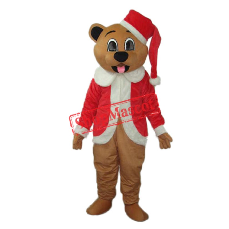 Brown Christmas Bear Mascot Adult Costume Free Shipping
