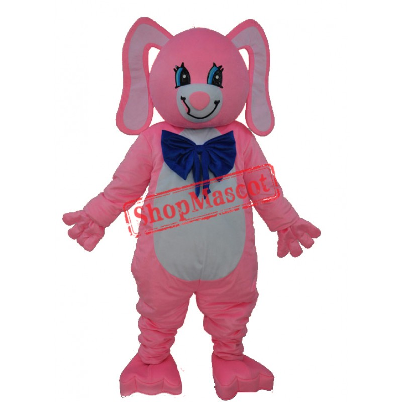 Long Ear Pink Bear Mascot Adult Costume Free Shipping