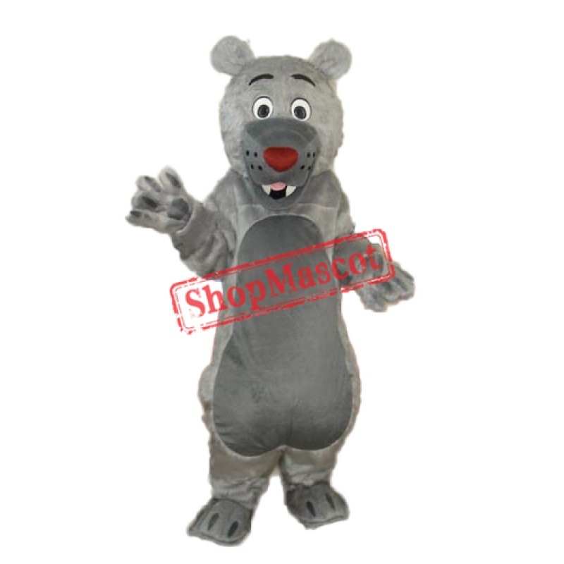 Long-haired Gray-mouth Bear Mascot Adult Costume Free Shipping