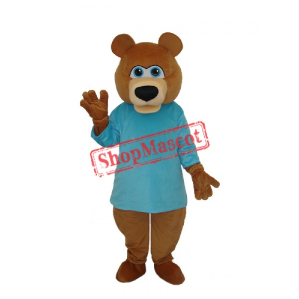 Mr.Bear in Blue T-shirt Mascot Adult Costume Free Shipping