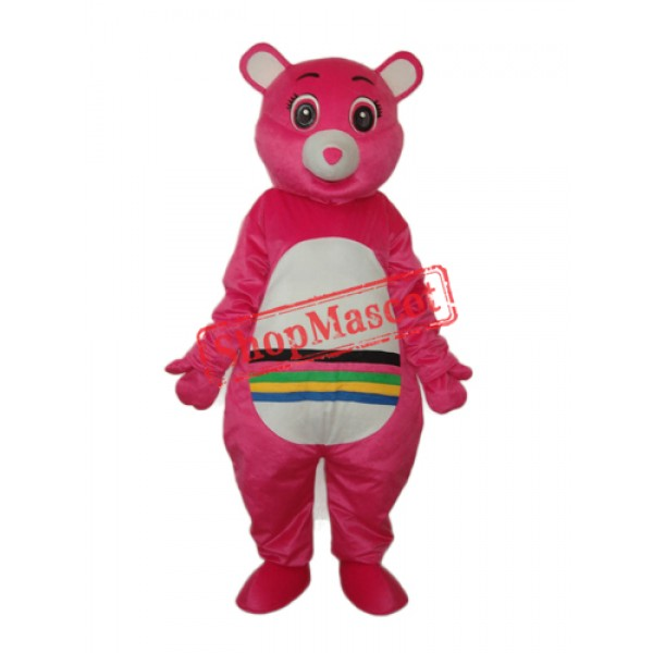 Pink Bear with Colorful Belly Mascot Adult Costume Free Shipping