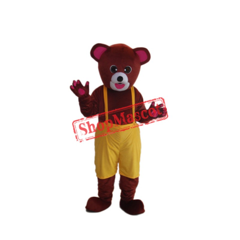 Brown Yellow Bear Mascot Adult Costume Free Shipping