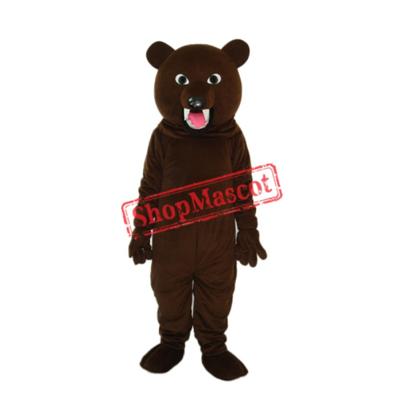 Sharp Teeth Dark Brown Bear Mascot Adult Costume Free Shipping