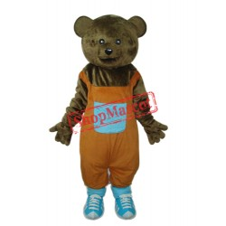 Teddy Bear in Orange Overall Mascot Adult Costume Free Shipping
