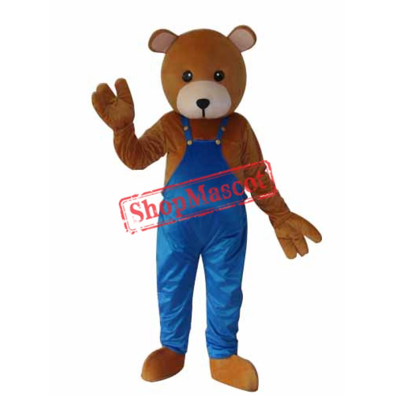 Teddy Bear in Overalls Mascot Adult Costume Free Shipping