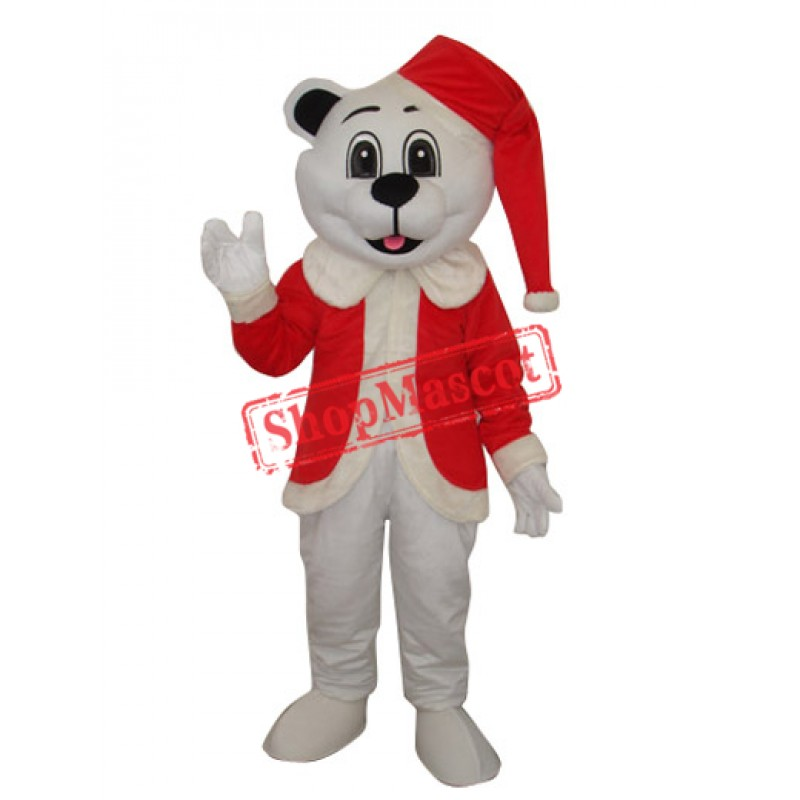 White Bear with Santa Hat Adult Mascot Costume Free Shipping