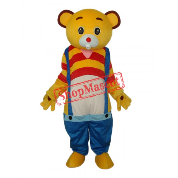 Yellow Bear Wear Blue overalls Mascot Adult Costume Free Shipping