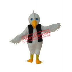 White Eagle in Black Vest Mascot Adult Costume Free Shipping