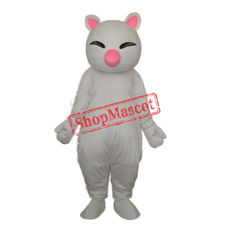 Big Pink Nose White Cat Mascot Adult Costume Free Shipping