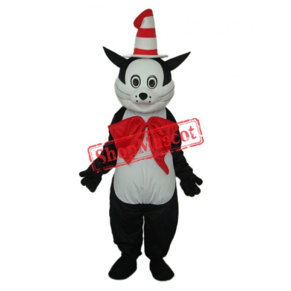 Black Cat with Hat Mascot Adult Costume Free Shipping