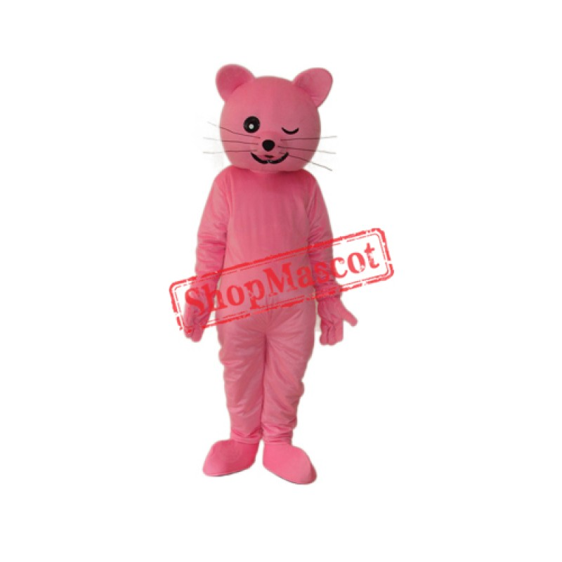 Pink Cat Mascot Adult Costume Free Shipping