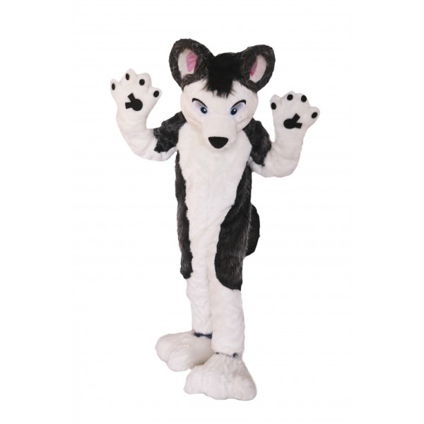 Gray and White Dog Husky Mascot Costume on Clearance