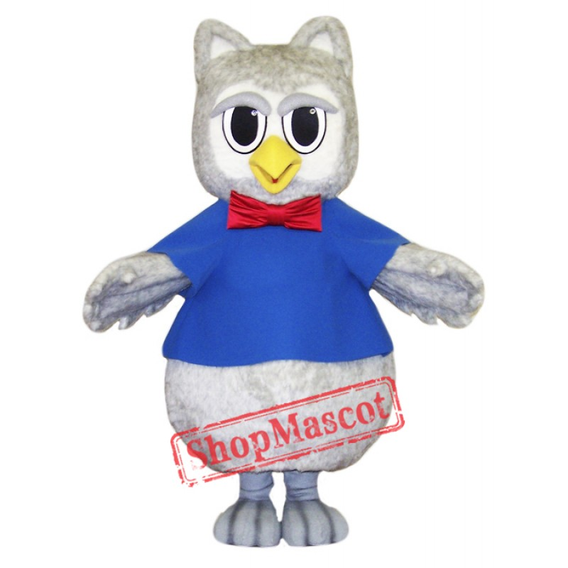 Cute Grey Owl Mascot Costume