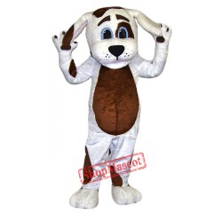 Cute White & Brown Dog Mascot Costume