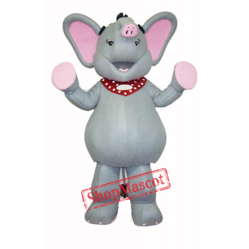 High Quality Grey & Pink Elephant Mascot Costume