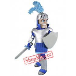 Silver & Blue Knight Mascot Costume