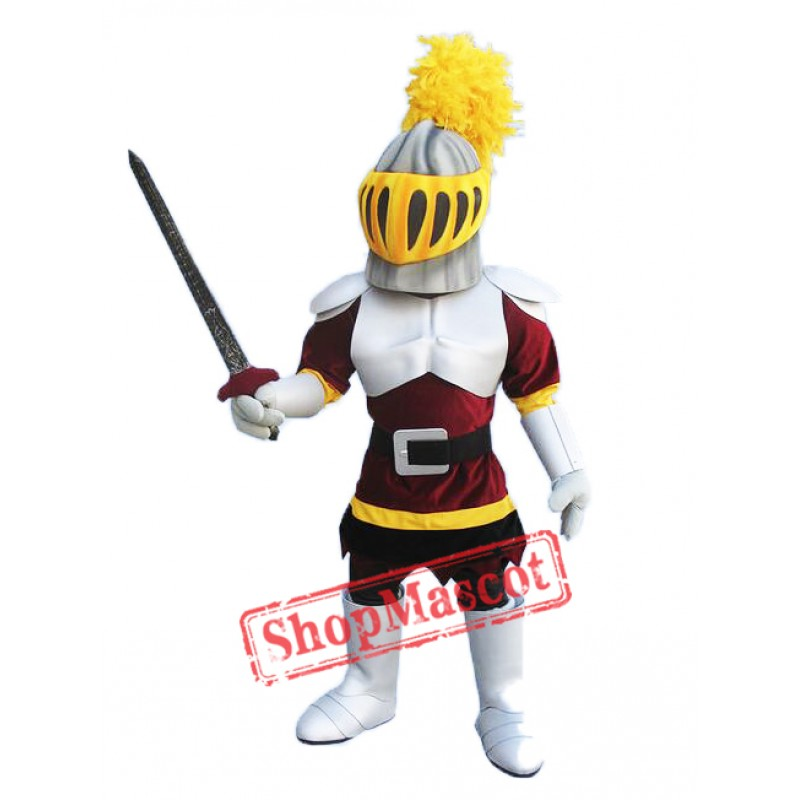 Silver & Red Knight Mascot Costume