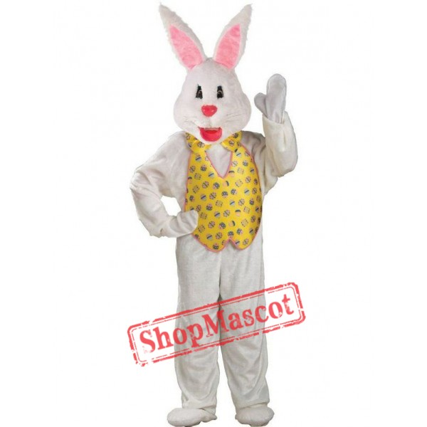White Adult Easter Bunny Mascot Costume