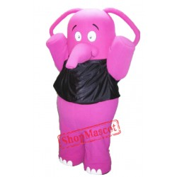 Fat Pink Elephant Mascot Costume