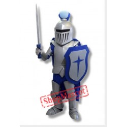 Blue &  Sliver Knight Mascot Costume