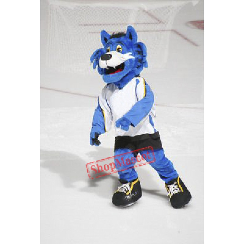 Blue Furry Tiger Mascot Costume