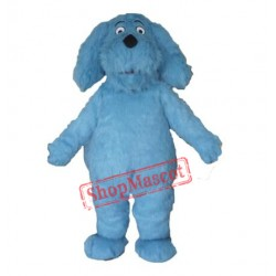 Blue Furry Dog Mascot Costume