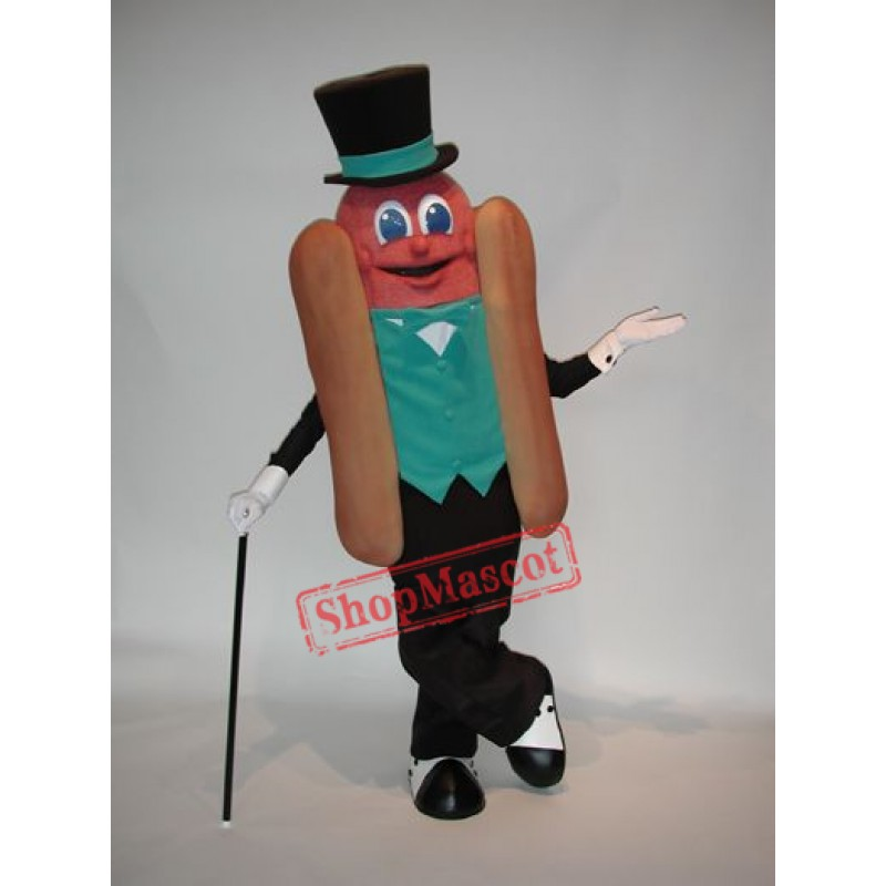 Gentleman Hot Dog Mascot Costume