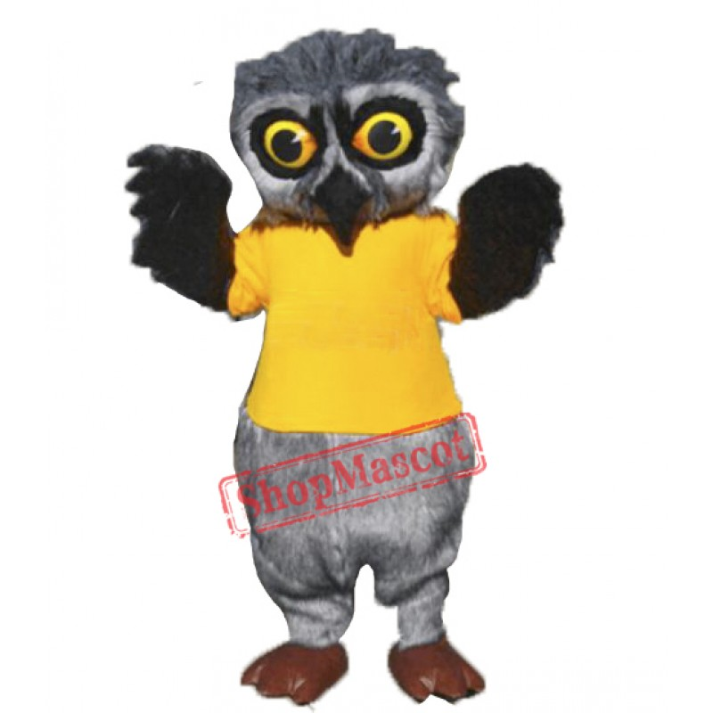 Grey Furry Owl Mascot Costume