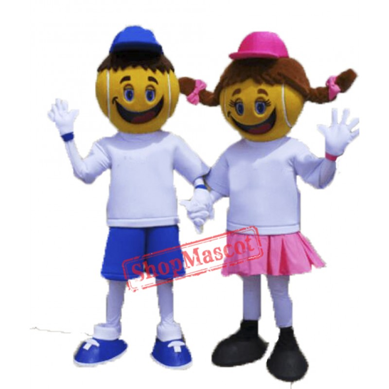 Two Tennis kids Mascot Costumes