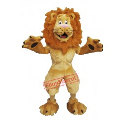 Happy Furry Lion Mascot Costume