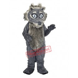 Grey Fluffy Wolf Mascot Costume
