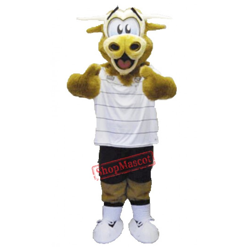 Brown Fluffy Cow Mascot Costume