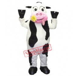 White & Black & Pink  Cow Mascot Costume