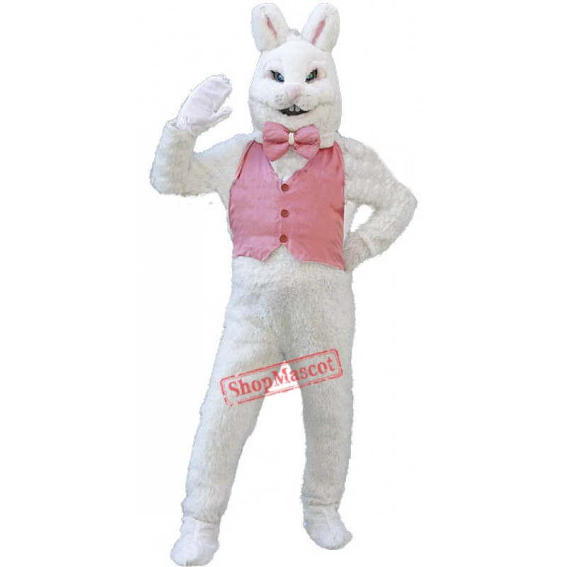 Happy White Bunny Rabbit Mascot Costume